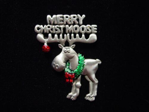 """/""""JJ/"""" Jonette Jewelry Silver Pewter /""""Merry Christ Moose /'Pin ~ JOIE DE NOËL"""