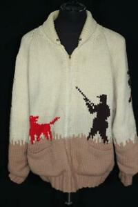 VERY-COLLECTIBLE-RARE-VINTAGE-1950-039-S-COWICHAN-HUNTING-WOOL-SWEATER-SIZE-XXL