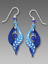 Adajio Royal BLUE LEAF Motif Split Curve EARRINGS STERLING Silver Bead Drop 7610
