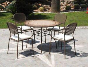 Tavolo tondo con piastrelle diametro 102 per esterno arredo giardino ebay - Tavolo con piastrelle ...
