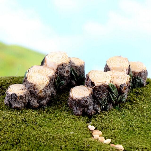 Miniature Resin Tree Stump Bridge Garden Fairy Ornament Plant Pot Home Decor MO