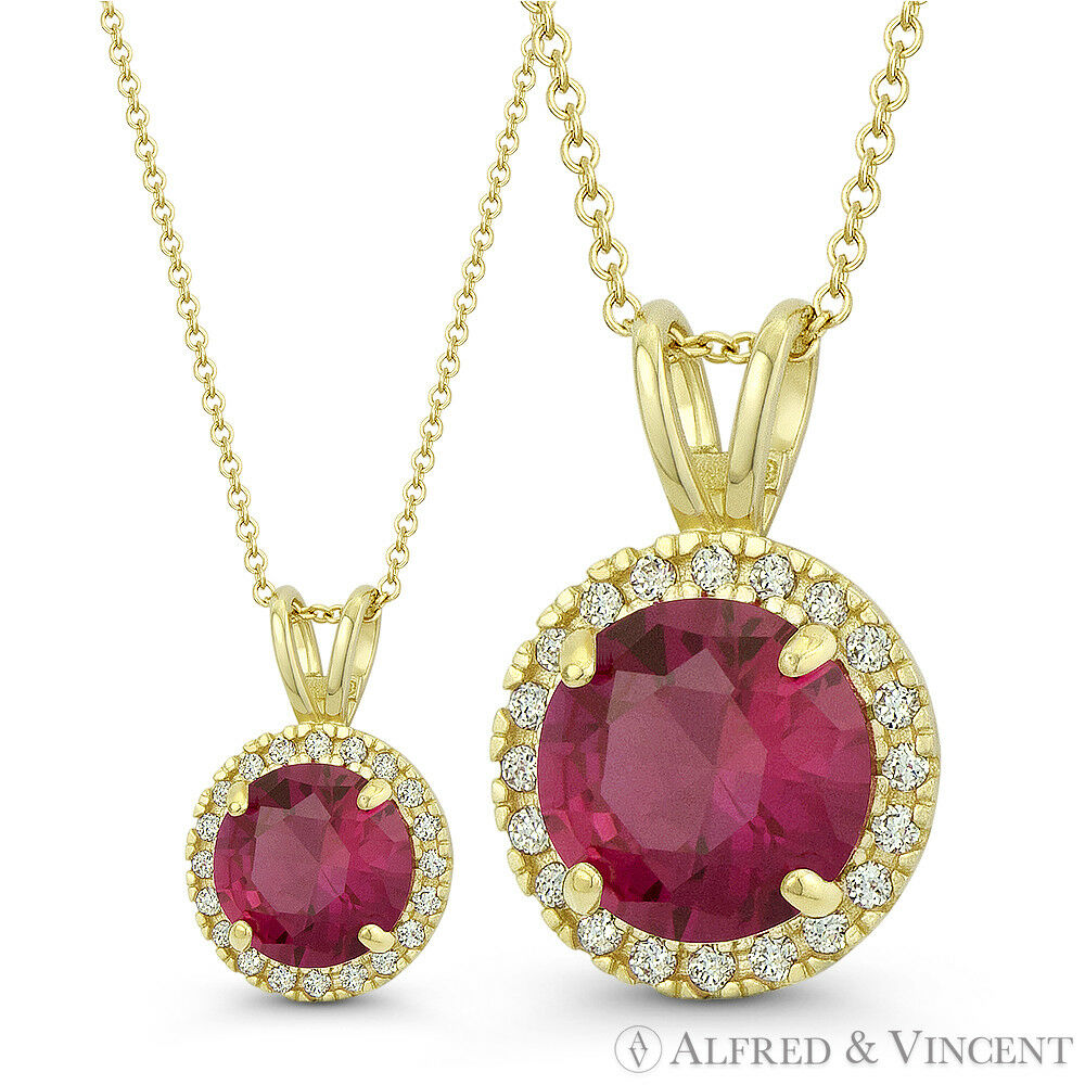 Faux Ruby Red & Clear Round Cut CZ Crystal Solid 14k Yellow gold 14x9mm Pendant