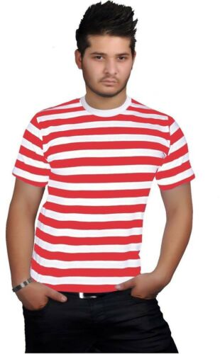 NEW MENS RED /& WHITE STRIPE CREW ROUND NECK T SHIRT TOP ALL SIZES SMALL TO XXL