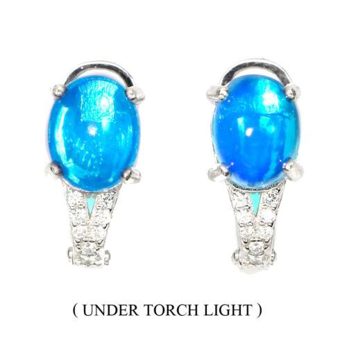 Oval 9x7mm Blue Fire Opal Cz 14k White Gold Plate 925 Sterling Silver Earrings