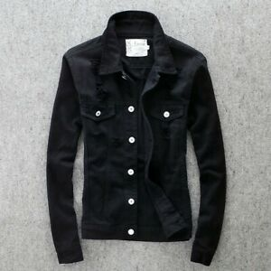 Men-039-s-Lapel-Slim-fit-Buttons-Casual-Jackets-Coats-Leisure-Korean-Buttons-Ripped