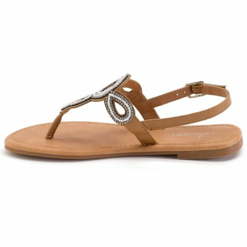 FREE S/&H U-Pick 8 or 9 Unionbay Allen Beaded Thong Slingback Tan Sandals Shoes