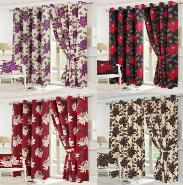 Seren Floral Pattern Luxury Curtain Pairs Fully Lined Eyelet Top With Tie Backs