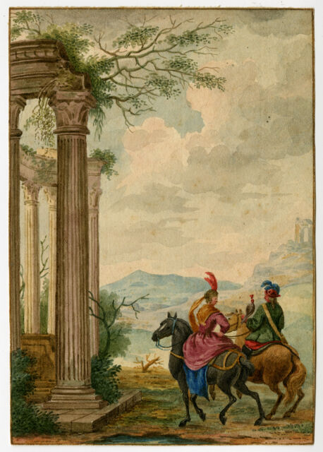 Antique Drawing-FALCONRY-HORSE-RUIN-Anonymous-ca. 1760