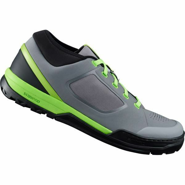Shimano GR7 (GR700) flat pedal MTB shoes,  grey   green, size 48  exclusive designs