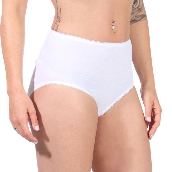 SCHÖLLER Damen Slip 3er Pack Taillenslips Unterhosen hoher Leib Baumwolle weiß