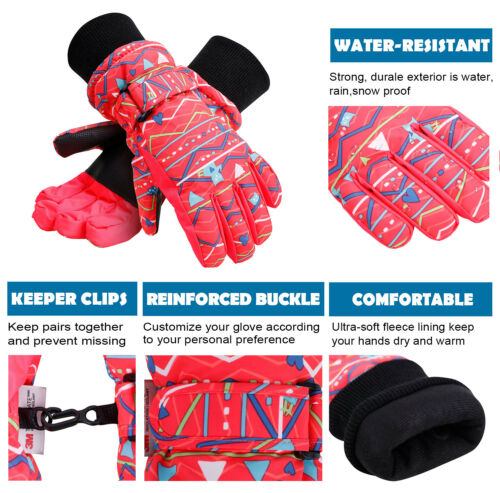 Kids Winter Warm Thinsulate Lined Winter Windproof Snow Ski Gloves