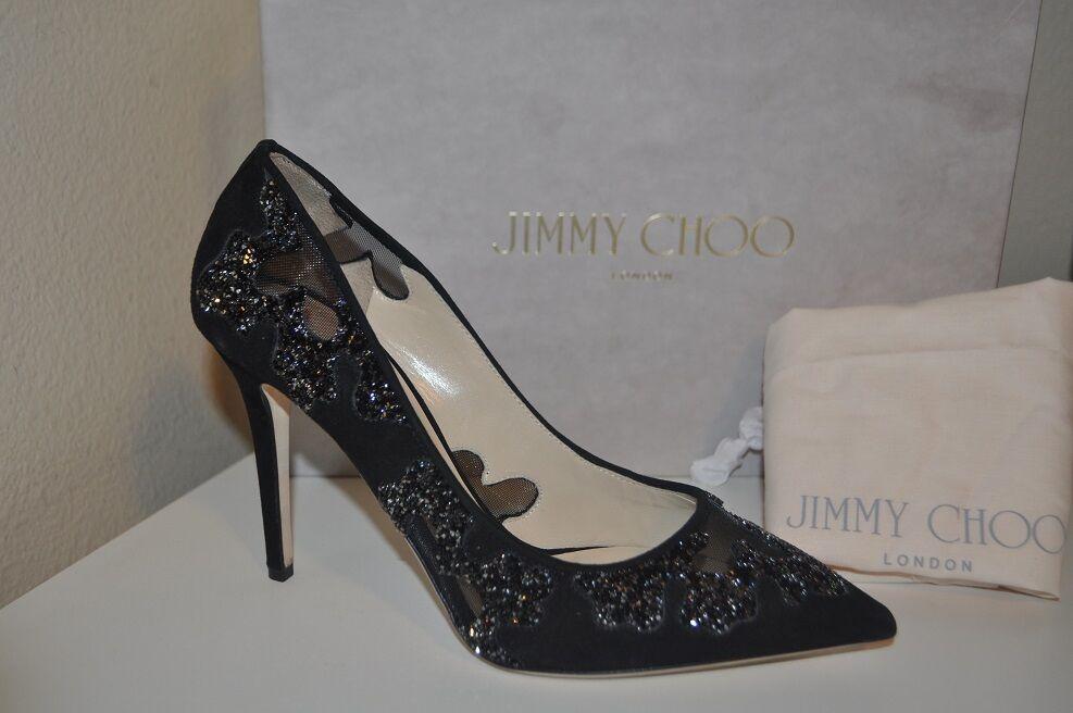 Nuevo En En En Caja Jimmy Choo Karmel Malla De Cristal De Gamuza Negra Puntera Puntiaguda bomba Tacones Zapatos 38.5  Todos los productos obtienen hasta un 34% de descuento.