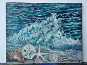 Original-Acrylic-Painting-8-x-10-Canvas-Panel-Seashell-Sand-Dollar-Beach-Art