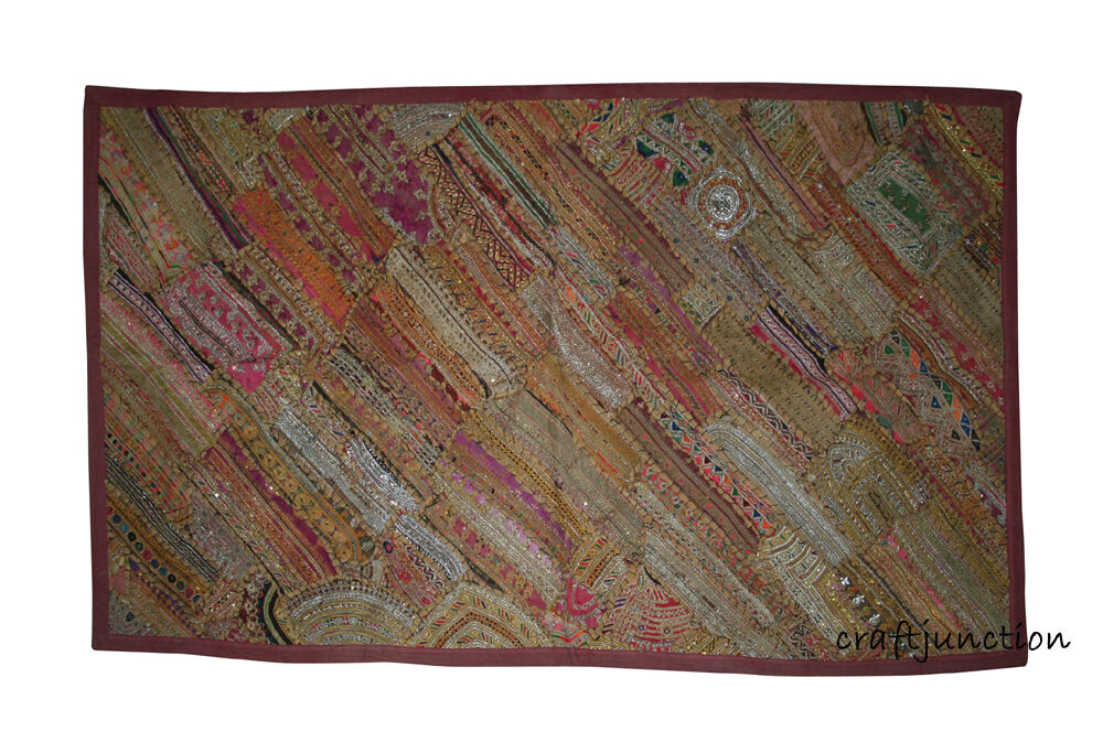 Gorgeous Zari Patchwork Pakistani Wall Tapestry Vintage Wall Hanging Home Decor