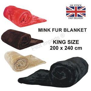 Throws Blanket Faux Fur Fleece Mink Sofa Bed Luxury WARM Single Double King