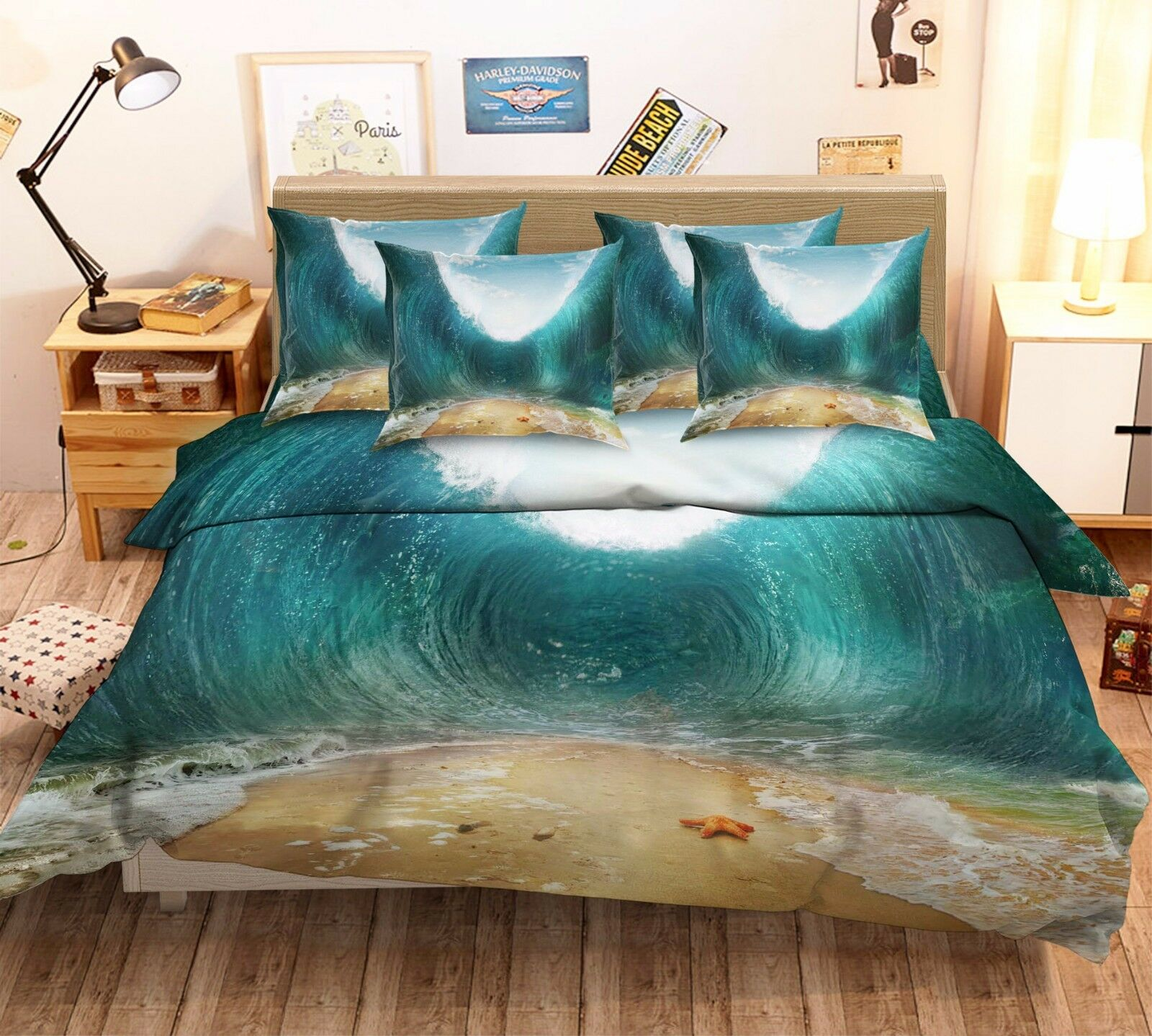 3D Swirl Sea Waves 7 Bed Pillowcases Quilt Duvet Cover Set Single Queen AU Lemon