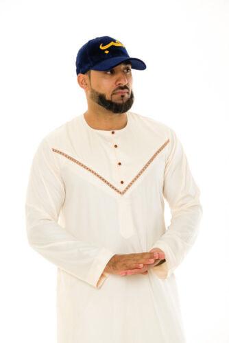Mens Designer Al Noor Dubai Jubba à col rond cou Thobe Omanais Arabe Jubbah