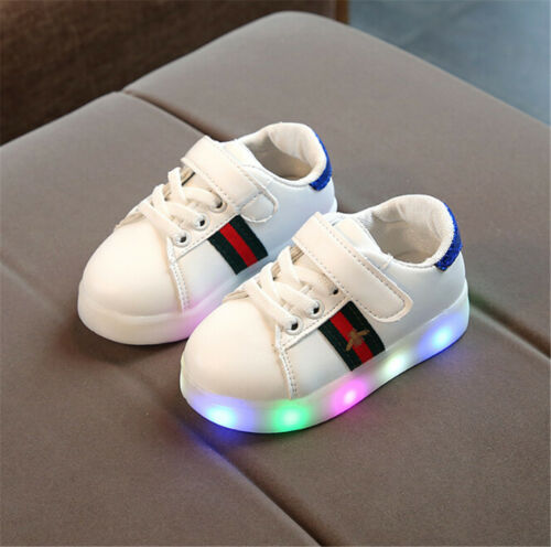 Boys Girls Outdoor Light Up LED Luminous Trainers Shoes Kids Baby Sport Sneakers
