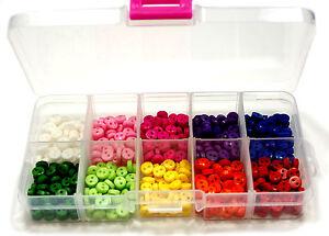 500-Mini-Knoepfe-6mm-Bunt-nach-Farbe-Sortiert-in-10-Faecher-Box-Transparent-Bastel