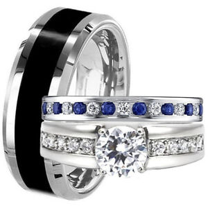 Black Tungsten Stainless Steel Men Women Blue Sapphire Cz Wedding