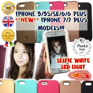 online store 3828f 70a6a Details about New White Light UP Style Luminous LED Selfie Phone Cover Case  iPhone 5 6 7 Plus