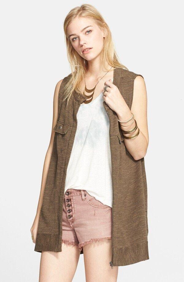 NWT Free People Woherren Fashion Highway Sweater Zip Vest Top Shirt XS S M L