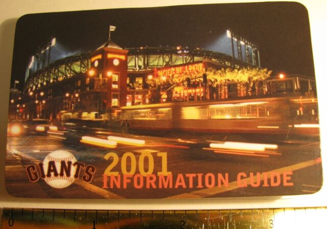 SF GIANTS 2001 PACIFIC BELL PARK DOUBLY FOLDED CARD INFORMATION GUIDE FREE SHIP