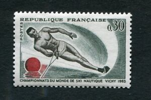 Timbre-neuf-FRANCE-TB-YT-n-1395-SKI-NAUTIQUE-a-VICHY-1963