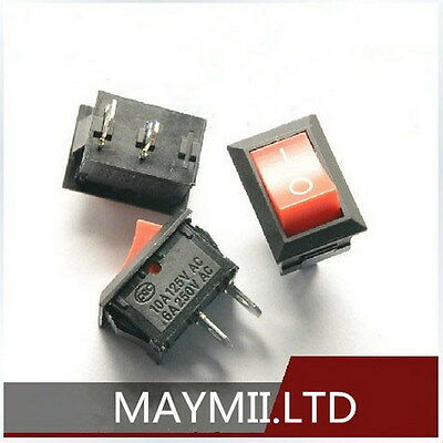 Brand NEW 10pcs Convenient KCD1-101 250V 6A Red  Rocker Boatlike Switch 2PIN H