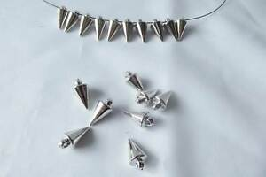 SPIKE-02-70-x-Acrylic-Metallised-Silver-Plated-Long-Spike-Bead-Charm-7mmx14mm