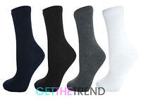 6 Pack Boys Girls School Socks Childrens Kids Back to School Cotton Plain Sock