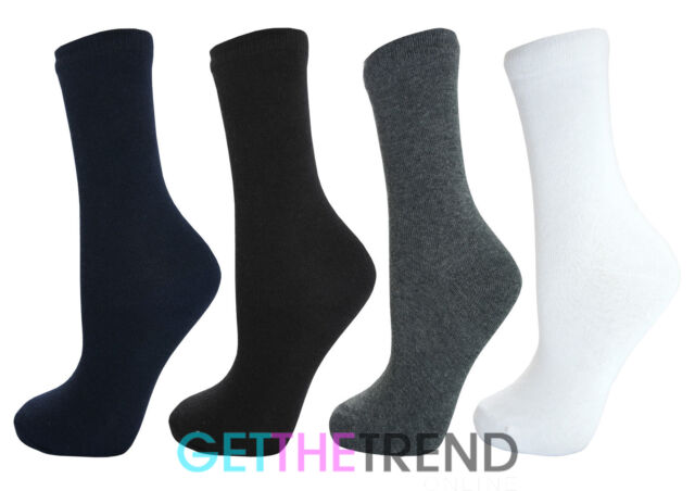 3,6,9 or 12 Pairs Boys Girls Cotton Rich School Socks Childrens Ankle Shoe Plain