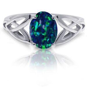 Dark Blue Fire Opal Infinity Celtic Oval Cut Birthstone Sterling Silver Ring