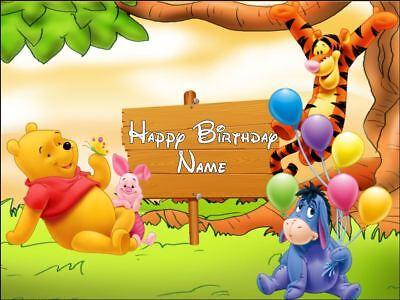 Stupendous Edible Rectangular 10X7 5 Winnie The Pooh Birthday Cake Topper Ebay Funny Birthday Cards Online Alyptdamsfinfo