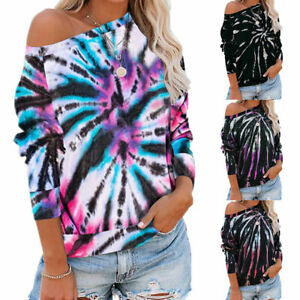Womens-Off-Shoulder-Shirts-Tie-Dye-Print-Long-Sleeve-Blouse-Casual-T-shirts-Tops