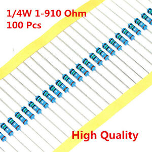100Pcs-1-4W-0-25W-Metal-Film-Resistor-1-56-120-150-180-430-470-680-1-910-Ohm