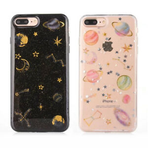 sports shoes 663b9 fafc4 Details about Shockproof Soft Silicone Glitter Space Planet Case Cover For  iPhone X 6 7 8 plus