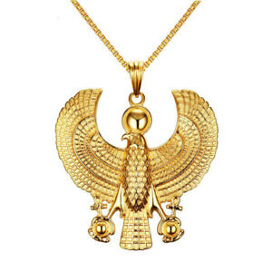 Horus-Bird-Falcon-Gold-Plate-Pendant-Men-Necklace-Egyptian-Biker-Gift-Jewelry