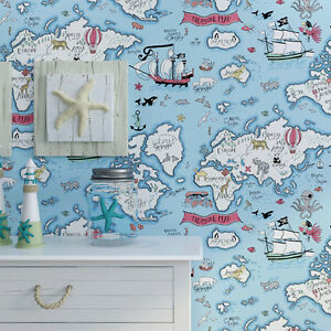Carton world map bedroom boys girls children pure paper wallpaper image is loading carton world map bedroom boys girls children pure gumiabroncs Image collections