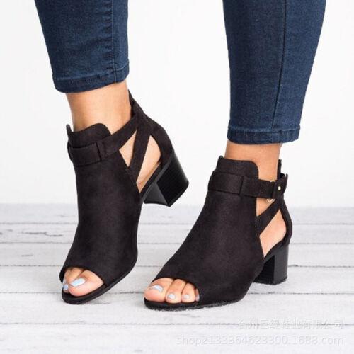 Damen Sommer Schnallen Sandalen Peep-Toe Pumps Party Freizeit Schuhe EUR 36-43