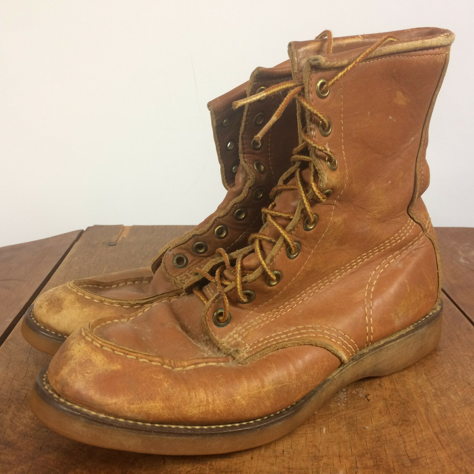 Vintage Neoprene Soles Leather Boots Mens Distressed Work shoes Light Brown