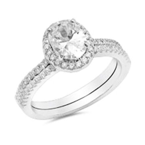 2 Piece Oval Shape CZ Bridal Set .925 Sterling Silver Ring Sizes 4-10