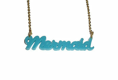 Mermaid Necklace, Turquoise Word, Cute Quirky Kitsch Jewellery Laser Cut