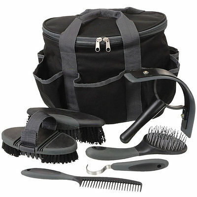 Tough-1 Great Grips 6-Piece Horse Grooming Set - Black NEW