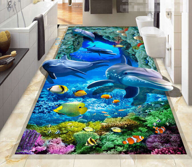 3D Corals Dolphins 63 Floor WallPaper Murals Wall Print 5D AJ WALLPAPER UK Lemon