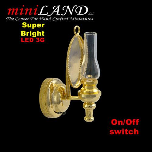 Wall oil  sconce SUPER bright battery LED LAMP Dollhouse miniature light brass