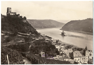 Allemagne-Chateau-Gutenfels-et-la-ville-de-Kaub-vue-generale-Vintage-albumen