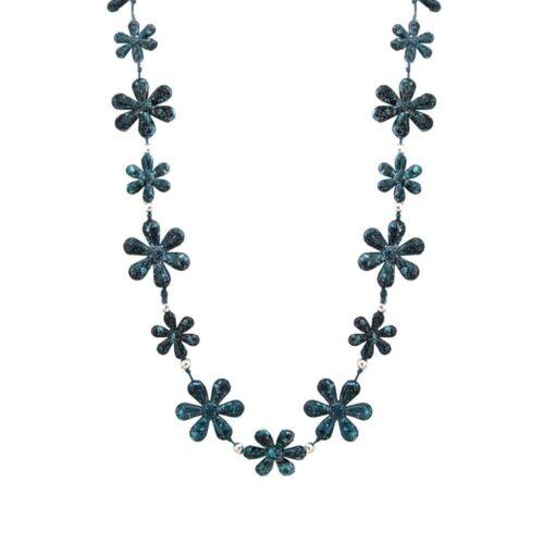 Señora collar azul turquesa blanco jaspeado cadena Collier Lang cadena wickelkette