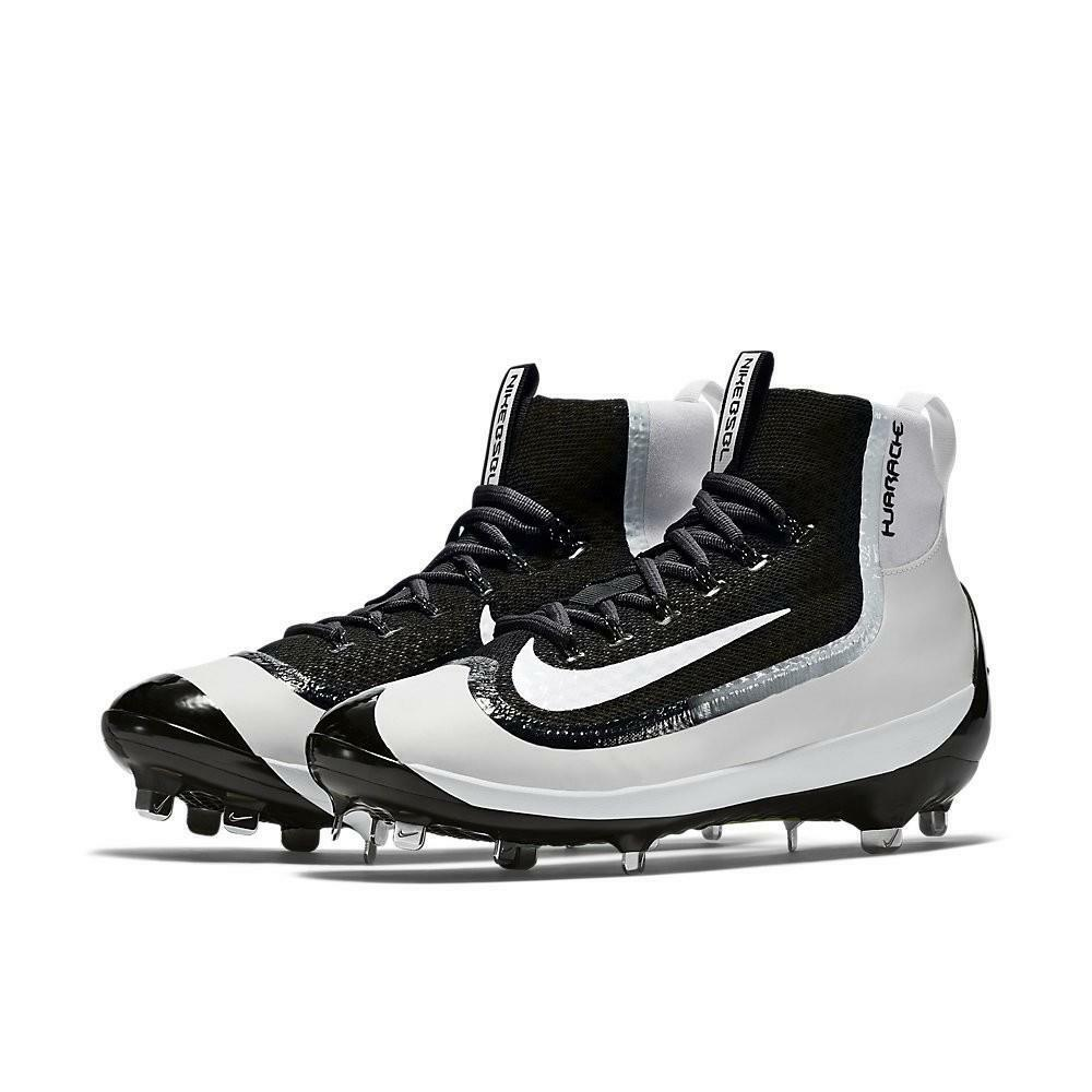 Nike Black & White Alpha Huarache 2K Filth Mid Ankle Cover Men's Baseball Cleats