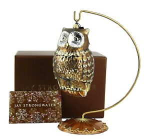 JAY-STRONGWATER-GILDED-OWL-LARGE-GLASS-CHRISTMAS-ORNAMENT-NEW-BOX